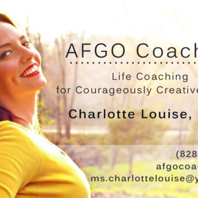 Business card for Chrlotte Louise Taylor, AFGO certified lifecoach.