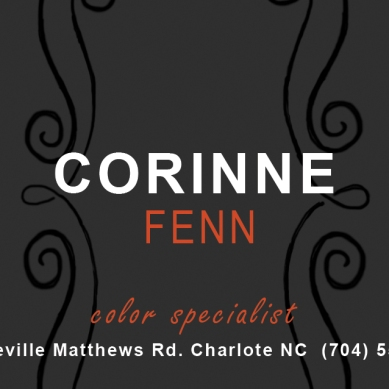 Business card for Charlotte NC salon.